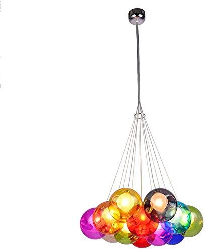 Xiaojie Personalidad creativa Nordic restaurante lámpara de araña cafetería habitación de los niños de vidrio manchado burbuja bola de araña, 12 Kopf