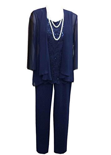 Pretygirl Damen 3 Stück Spitze Chiffon Mutter der Braut Kleid Hose Anzüge mit Jacke Outfit für Hochzeit Bräutigam(US 20 Plus, Königsblau)