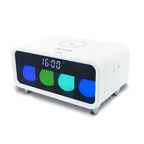 Metronic 477029 - Despertador Luminoso con Cargador inalámbrico por inducción, Efectos Luminosos, Teclas táctiles