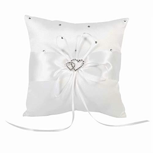 Braut Hochzeits Ringkissen Taschen Kissen Träger Mit Doppelten Herzen Dekoration-10cm × 10cm