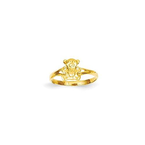 Anillo de oso de peluche pulido de oro amarillo de 14 quilates, tamaño D, joyería para mujeres