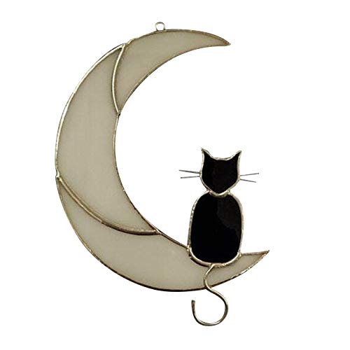 Stained Glass Cat On the Moon Window Hanging Suncatcher Cat Lover Gift Pet Gift Black Cat On the Moon Home Decor