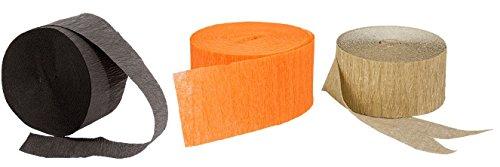 Metallic Gold, Orange and Black Crepe Paper