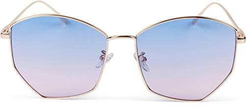 styleBREAKER Damen Piloten Sonnenbrille mit fünfeckigen Gläsern, getönten Polycarbonat Gläsern und Metall Gestell, Retro Brille 09020103, Farbe:Gestell Gold / Glas Blau-Rosa Verlauf