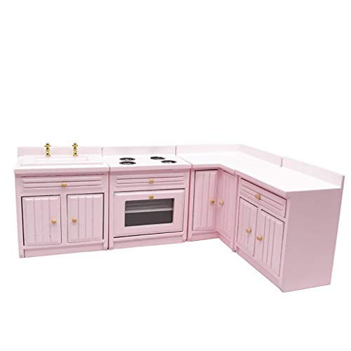 SXFSE Dollhouse Decoration Accessories,1:12 Dollhouse Miniature Furniture Wooden Kitchen Cabinet Set Freely Combined (Pink)