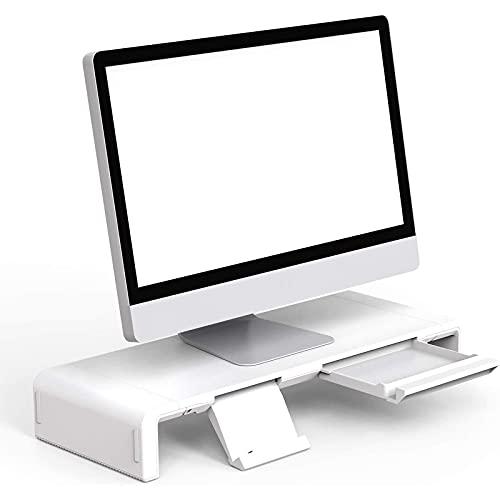 Soporte de Monitor con Cajón de Almacenamiento y Soporte Teléfono,Klearlook Elevador Pantalla Longitud Ajustable,Bandeja de Pantalla Monitor Escritorio para Computadora/Impresora/Laptops/TV,Blanco