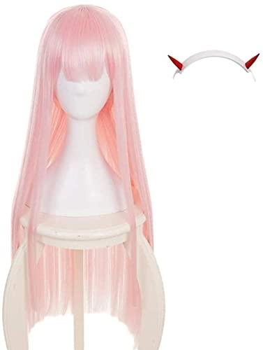MAIGOU Anime Cosplay Wig Darling en el Franxx Cero Dos 002 Peluca de Cosplay con Cuernos Diadema y Peluca de amp Peluca Larga Larga Peluca Baifantastic