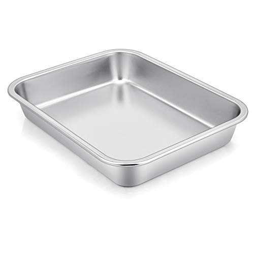 """P&P CHEF High-Sided Cookie Sheet Baking Pan, Rectangular Lasagna Pan Stainless Steel, Size 10.6""""x 8.25"""" x 1.7"""", Perfect for Most Toaster Oven & One Person Use, Heavy Duty & Easy Clean"""