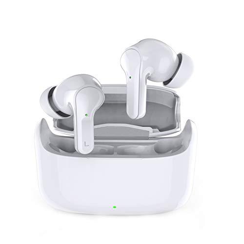 Bluetooth 5.0 auriculares sin hilos, control táctil Auriculares, a prueba de agua de alta fidelidad estéreo de cancelación de ruido auriculares auriculares sin hilos, para iPhone y Android,Blanco