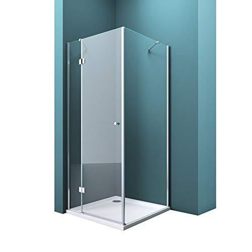 Duschabtrennung Klarglas 80x80, 6mm ESG-Sicherheitsglas, Duschwand aus Echtglas, Nanobeschichtung, Duschkabine R05k