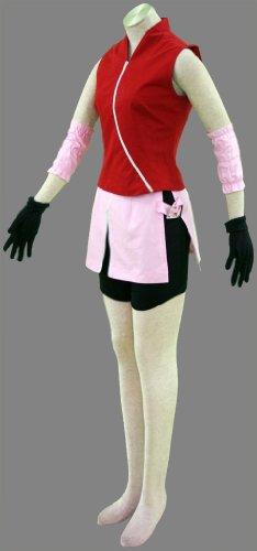 『BS022 NARUTO -ナルト- cosplay コスプレ衣装 コスチューム ♥春野サクラ 二代目 疾風伝 5点セット001-C22 (M)』の1枚目の画像