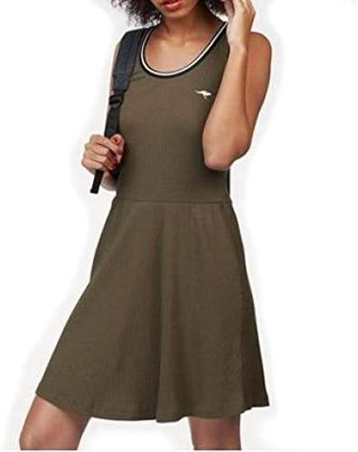 Kangaroos Strandkleid Skaterkleid Sommerkleid Damen Skater Kleid Damenkleid Gr 38 Khaki Amazon De Bekleidung