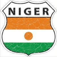 Koopje Wereld Niger Vlag Highway Shield Novelty Metalen Magneet (Met Sticky Notes)