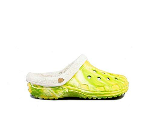 TMA 207F Clogs Sandaletten gefüttert gelb/grün - EUR 37