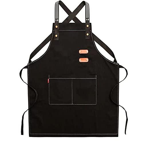 JJRYPSH Delantal Cocina Delantal Suave Diseño De Bolsillo Grande Fácil De Limpiar Lavable En La Lavadora Ajustable Mano De Obra Fina Cocina Tienda De Barbacoa,2 Colores,Black-55×78cm