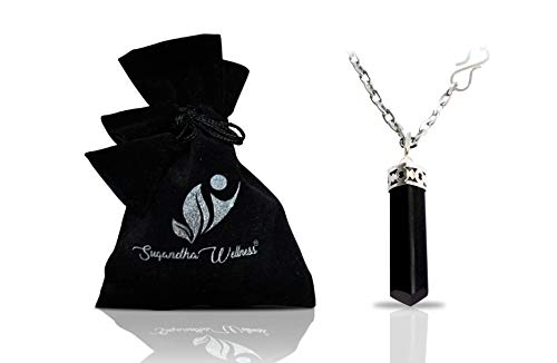Natural Black Tourmaline Crystal Healing Necklace - for Root Chakra | Dispels Negative Energy. Guards Against Environmental Pollutants. Natural Stress Aid. Stimulates Optimism, Awareness, Happiness