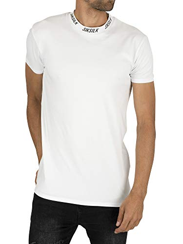 Sik Silk Hombre Camiseta con Cuello Alto y Logo, Blanco