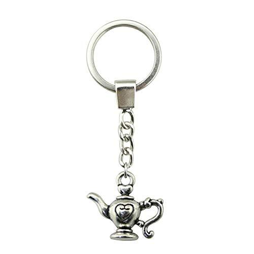 TAOZIAA Fashion sleutelhanger antieke brons verzilverde kleur 21x19mm theepot hanger sleutelhanger ring houder