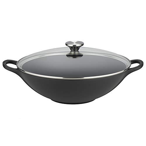 Le Creuset gietijzeren wok, rond, Ø 32 cm, geschikt voor alle warmtebronnen, inclusief inductie