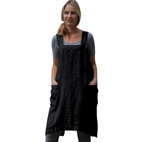 MRULIC Frauen Baumwolle Leinen Pinafore Square Cross Schürze Kleid A-line Gartenarbeit Pinafore Kleid(Schwarz,EU-40/CN-2XL)