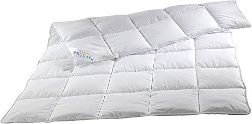 PROCAVE Micro-Comfort Qualitäts-Bettdecke für den Sommer | Entspannt schlafen | Atmungsaktive Steppdecke in weiß in 135x200 cm