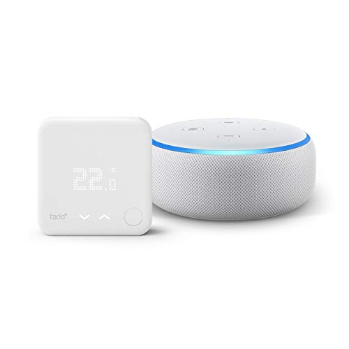 Echo Dot (3ème génération), Enceinte connectée avec Alexa, Tissu sable + Thermostat Intelligent Kit de Démarrage V3+ - Contrôle intelligent du chauffage