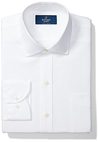 Amazon Brand - Buttoned Down Men's Slim-Fit Spread Collar Pinpoint Non-Iron Dress Shirt, White, 16' Neck 33' Sleeve