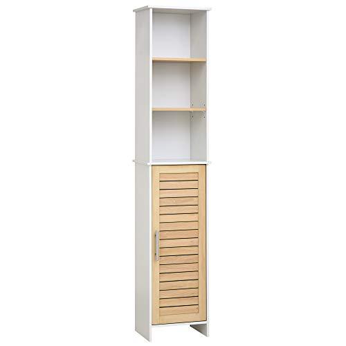 kleankin Badezimmerregal, Badeschrank, Küchenschrank mit Schrank, 3 Regale, Spanplatte, 36 x 26 x 173,5 cm, Natur+Weiß