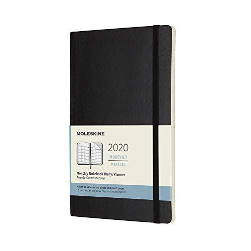 Moleskine Monats Notizkalender, Taschenkalender, 12 Monate, 2020, Large, A5, Soft Cover, Schwarz