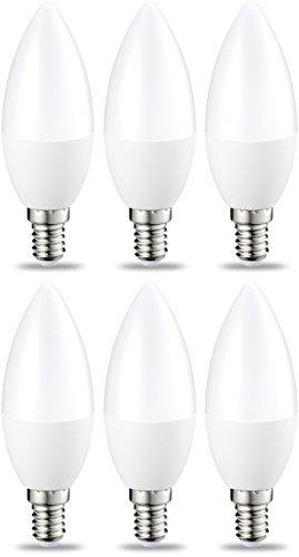 AmazonBasics Lampadina LED E14 a Candela, 5.5W (equivalenti a 40W), Luce Bianca Calda- Pacco da 6