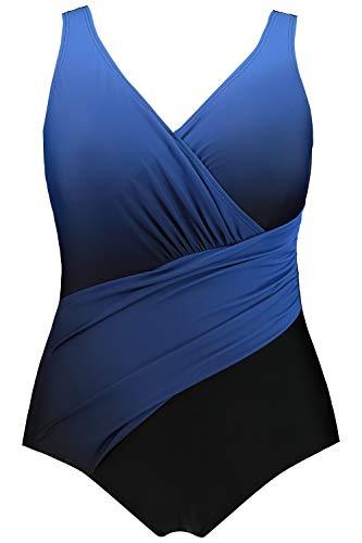 Ulla Popken Damen Größen, Farbverlauf Badeanzug, Blau (Abendblau 74923973), 48