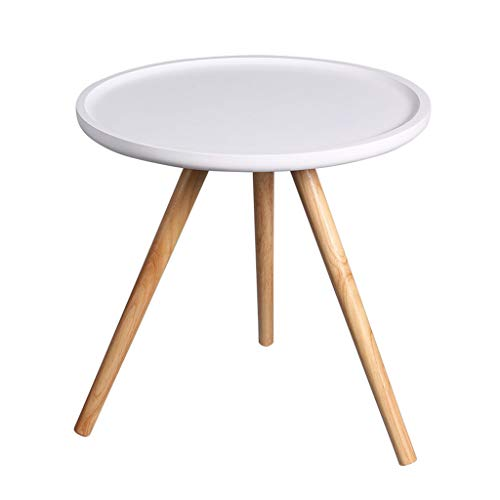 Xing Hua home Table Salon canapé Table d'appoint Coin épaissie Courbe côté Table Basse Table Basse Blanc Petit Rond Petite Table d'appoint (Color : Blanc, Size : 48 * 48 * 47cm)