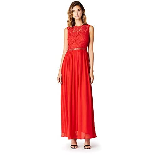 Marchio Amazon - TRUTH & FABLE Maxi Dress di Pizzo Donna, Rosso (Red), 42, Label: S
