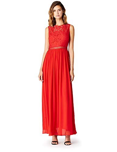 Amazon-Marke: TRUTH & FABLE Damen Maxi-Spitzenkleid, Rot (Red), 38, Label:M