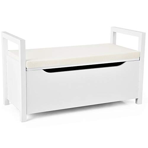 Giantex Shoe Storage Bench with Cushion Entryway Storage Benches End of Bed Bench for Bedroom Wood Shoe Bench with Seat White