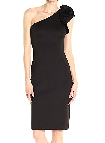 Eliza J womensEJ7M5648One Shoulder Flower Detail Dress Short-Sleeve Dress - Black - 18