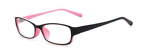 Outray Retro-Brille für Kinder /Jugendliche, rechteckig, nicht verschreibungspflichtig, klare Gläser, Brillengestell für Jungen/Mädchen Gr. 85, rose