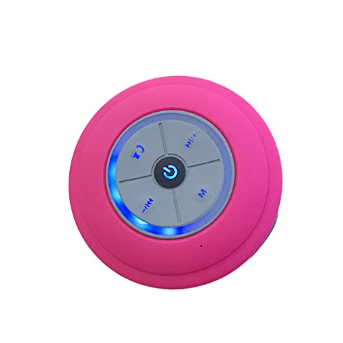 Altavoz Bluetooth LED Baño Ducha Radio del Altavoz Impermeable Resistente al Agua Bluetooth portátil de la Forma Redonda del Altavoz inalámbrico Recargable, Rojo