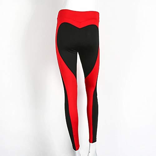 Yogahosen Damen, Herzform Leggings Frauen Neue Rot Schwarz Farbe Hohe Taille Hosen Patchwork Gedruckt Leggins Große Größe Hohe Elastische Fitness Leggings,D-M