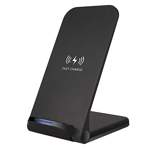 Docooler Cargador inalámbrico de 15W Soporte de carga rápida inalámbrico vertical Reemplazo habilitado Compatible con Qi para iPhone 12 11 Pro Samsung S20 Plus Dispositivos habilitados Qi Pad de carga