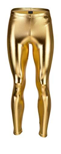 Vantissimo Herren Leder Leggings Made in Germany Lederhose in Gold Hochglanz-Lack Latex-Leder-Optik enganliegend Stretch Hose, Männer Unterwäsche Lange Enge Kunstleder Dessous Meggings (XL)