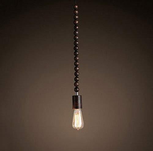 Zenghh Lámpara colgante de madera maciza con cuentas largas Lámpara de colgante de edificio geométrico Bloque de cadena Chandelier Japonés Retro Campo Pared Luz de colgante externa para taberna Bar Co