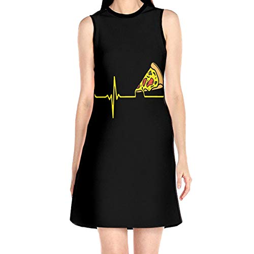 Heartbeat Pizza Women Dress Without Sleeve Summer Short Skirt White