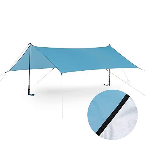 ENCOFT Sonnensegel Wasserdicht Rechteckig Sonnenschutz Block 95% UV Garten Balkon Schwimmbad Leichtgewicht Überdachung mit Seil Bodennagel Blau 3x4.5m