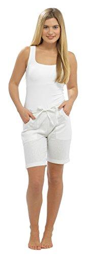 Lora Dora Damen Shorts aus Leinenmischung mit Gerippter Taille - Weiß Größe EU 48