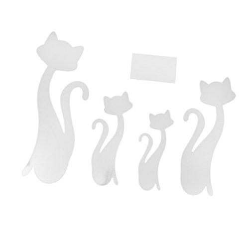 4pcs Autocollant Mural Forme de Chat Style Miroir Décoration pour Maison Couleur d'Argent