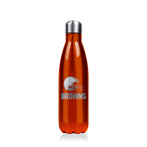Duck House NFL Cleveland Browns Stainless Steel Water Bottle - Double Wall Vacuum Sealed Insulation - Leak Proof - Precision Laser Engraved Team Logo - Metallic Finish, 17 oz