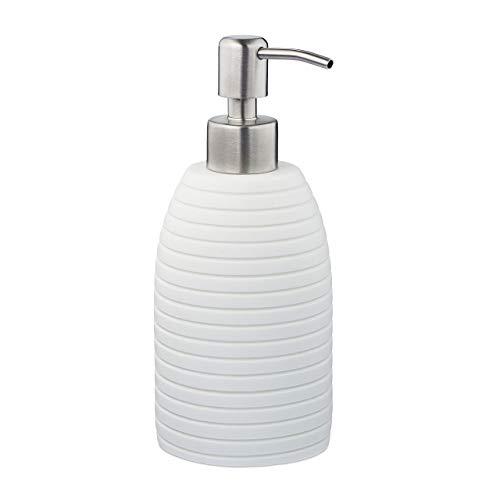 Relaxdays Seifenspender, 300 ml, nachfüllbar, Bad, WC, Küche, Flüssigseifenspender, Polyresin, Edelstahlpumpe, weiß