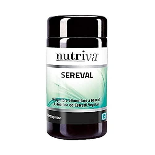 NUTRIVA Sereval, Integratore Alimentare a base di L-Teanina ed estratti vegetali in compresse, adatto per I vegani, 800mg (30 compresse)
