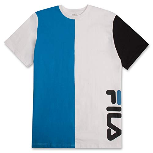 Fila Men's Big and Tall Short Sleeve T Shirt Big & Tall Crewneck Men Shirt Turquoise White Black 3X